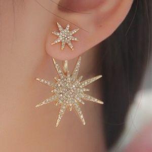 Jewelry - Fashion Hexagram Snowflake Crystal Fission Stud Ea